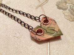 Origami Paper Heart Love Necklace by SLHJewellery on Etsy, £10.00