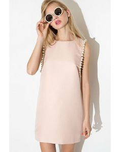 LUCLUC Pink Sleeveless Scoop Dress with Pearl - LUCLUC