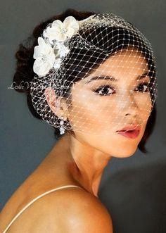 *Clover: Floret Rhinestone Lace Hair Comb & Petite Birdcage Veil 27-117