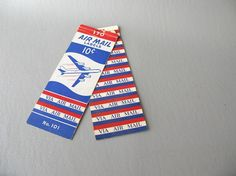 Vintage Air Mail Labels Airplane via air mail ephemera by PassedBy