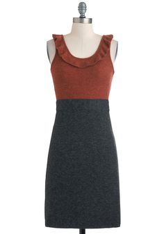 Business Admirable Dress - Mid-length, Orange, Grey, Solid, Ruffles, Work, Twofer, Sleeveless, Fall