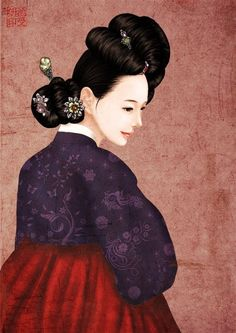 Modern Pictures, Creative Pictures, Korean Traditional Dress, Traditional Outfits, Korean Art, Asian Art, Korean Painting, Korean Hanbok, Action Painting