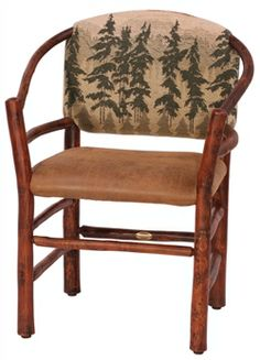 Old Hickory Two Hoop Chair ~ Old Hickory Log Furniture Old Hickory Furniture, Log Furniture, Furniture Making, Table And Chairs, Dining Table, Lodge Decor, Cozy Cabin, Great Rooms, Upholstery