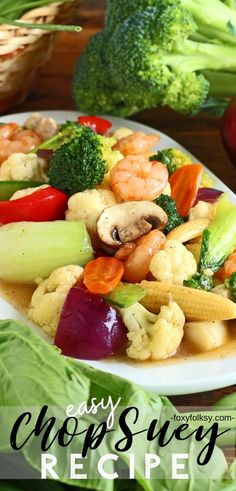 Try this Chop Suey recipe for an Easy stir-fry of colorful vegetables with thick sauce A great vegetable dish for a dinner party or just for an everyday healthy meal filipinofood filipinorecipe asianrecipe vegetable Meat Recipes For Dinner, Veggie Recipes, Seafood Recipes, Asian Recipes, Vegetarian Recipes, Cooking Recipes, Healthy Recipes, Oriental Recipes, Oriental Food