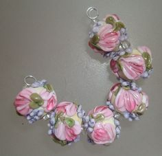 BLISS Tulips and Wisteria Floral Rounds on Ivory Lampwork Bead Set