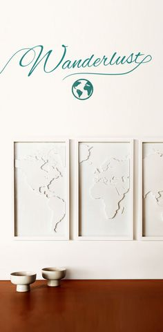 Display your love for travel and culture with this three-panel relief-molded world map. Done in a classic white, it will be a wonderful focal point for your living room or bedroom.