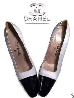 Authentic Chanel White with Black Details High Heels _ Size: 39 in Clothing, Shoes & Accessories, Women's Shoes, Heels Stilettos, Pumps, Chanel Jewelry, Black High Heels, Chanel Ballet Flats, Christian Louboutin, Footwear, Detail, Formal