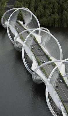 DNA-Shaped Suspension Bridge Inspired by Olympic Games\' Five Rings