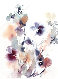 Abstract Floral Original Watercolor Painting Painting