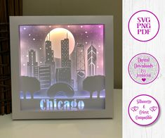 Chicago (With or Without Trump Tower) - 3D Paper Cut Template Light Box SVG Digital Download Files by Jumbleink on Etsy Paper Light, Trump Tower, Scan And Cut, Color Effect, Permanent Marker, 3d Paper, Box Design, Shadow Box, Beauty And The Beast