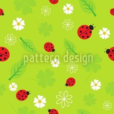 Vector Art : Spring seamless pattern with flowers and ladybirds. Patterns In Nature, Textures Patterns, Nature Pattern, Vector Pattern, Pattern Design, Arte Floral, Floral Illustrations, Free Vector Art, Free Design