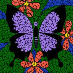 Completed Butterfly purple mosaic mandala kit created in ceramic tiles Design by Brett Campbell Mosaics