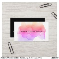 Shop Modern Watercolor Blot Business Card created by RedwoodAndVine. Square Business Cards, Black Business Card, Business Card Design, Watercolor Business Cards, Photographer Business Cards, Hairstylist Business Cards, Modern Logo, Business Supplies, Office Supplies