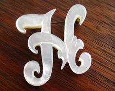 Vintage 40s Carved Mother of Pearl Monogram Script Initial H Brooch Pin