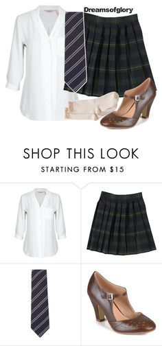 """""""Serena Van Der Woodsen (School Uniform)"""" by dreamsofglory ❤ liked on Polyvore featuring French Toast, Lubiam, Journee Collection and Hue"""
