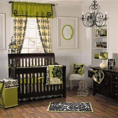 Luxurious Retreat of Modern Green Nursery Room -- wow this is fancy! I love it even though im not doing it lol still an amazing looking nursery!!