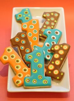Number cookies. I like the design on these. Looks simple enough to do myself but still looks really fancy!