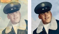 Old photo of my uncle in the service retouched in Photoshop.
