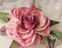 Fabric rose, bridal headpiece, silk rose comb, silk rose, bridal flower comb