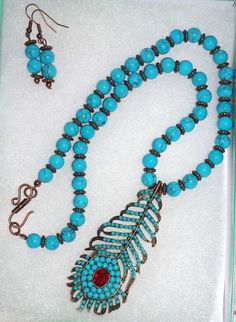 Handmade Beaded Necklace Set Turquoise Feather by SCLadyDiJewelry
