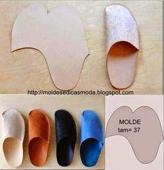 ARTE COM QUIANE - Paps,Moldes,E.V.A,Feltro,Costuras,Fofuchas 3D: Molde chinelo de casa fácil de fazer