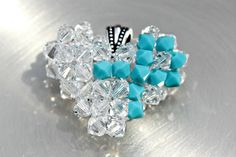 Turquoise Swarovski Crystal Awareness Heart by HandmadeJILLry