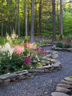 Love this walkway...the raised element in the path is so cool. It gives the perennials so much more presence and you wouldn't have to mow THIS path!
