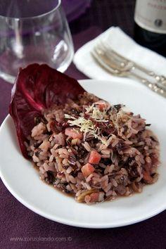 Risotto al radicchio e pancetta - Red chicory and bacon risotto