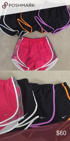 Nike Pro Running Shorts i kinda wanna sell them together. i don't really wanna do trades. the only reason i'm selling these is because i can't fit them any more. they are all a size small. all in good shape! price is firm because if you bought 2 of them in stores it would be $65-70 so you're basically getting 2 free! Nike Shorts