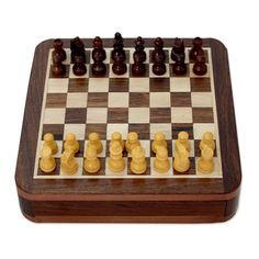 Rakesh Pathak Magnetic Hand Carved Wood Travel Chess And Storage Box