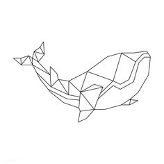 Linear illustration of a whale Geometric Drawing, Geometric Designs, Geometric Shapes, Geometric Animal, Geometric Tattoos, Whale Drawing, Whale Tattoos, Polygon Art, Minimalist Drawing