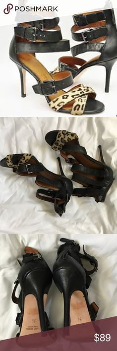 "Latitude Femme Leopard Strappy Heels 39 This is a gorgeous pair of Latitude Femme leopard heels. Size 39. Pony hair and black leather. 3.75"" Heels. Mint condition. Anthropologie Shoes Heels"