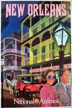 National Airlines • New Orleans #travel #poster 1970