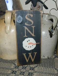Primitive Christmas Winter Sign Snow Snowman | eBay