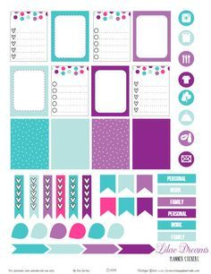 Vintage Glam Studio | Teal and Purple Planner Stickers | Free Printable Download for personal use only.