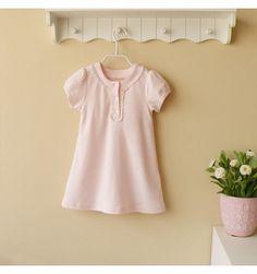 Mom and Bab Cotton Kids Dress - Pinky - sadinashop.com  Gaun cantik untuk bayi dan anak.