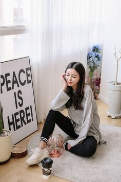 Buy Long Cotton Tee at Korean Fashion Store. We are constantly adding new styles daily so come take a look! Korean Girl Fashion, Ulzzang Fashion, Japanese Fashion, Asian Fashion, Fashion Beauty, Fashion Looks, Style Fashion, Korean Casual, Couple Outfits