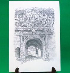 1977 Print Of Pen Sketch By Tübingen Artist Georg Salzmann, Auberes Schlobtor - $5.95