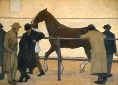 Robert Bevan Horse Dealers (Sale at Ward's Repository Horse Drawings, Art Drawings, Illustrations, Illustration Art, Manchester Art, Horse Posters, Impressionist Artists, Art Uk, Equine Art