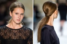 #Fall #hairstyle trend: A twisted low ponytail - start with a braid then twist side strands over it for a classy effect. More quick hair makeover ideas here: http://www.esalon.com/blog/7-no-risk-hair-makeovers/
