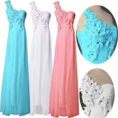 New Chiffon One Shoulder Long Formal Prom Dresses Party Bridesmaid Evening Gowns