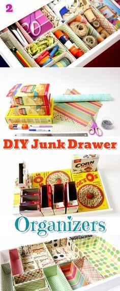 DIY Junk Drawer Organization Ideas, Tips and Hacks #gettingorganized