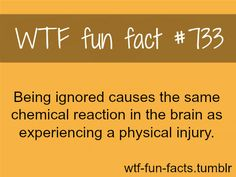 Being ignored and a physical injury... Same sensations WTF-fun-facts : funny & weird facts