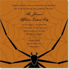 Eight Legs of Fright Orange #spider #web #creepy #critter #halloween #fall #autumn #party #event #invite #invitation #invitationbox #design #interesting #pinterest #scary #spooky