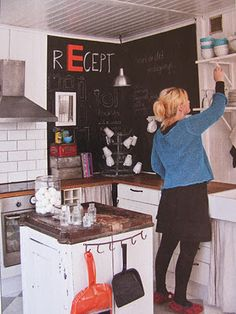 chalk board wall in the kitchen