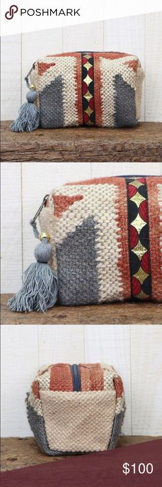 ✨Coming Soon✨Southwest Inspired Multi-Pattern Bag Shell 75/25 jute/wool lining 100% polyester. Dimensions 9X5 Kat's Boutique Bags Cosmetic Bags & Cases