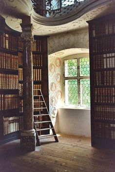 A nook in the library of Einsiedeln Abbey, a Benedictine monastery in the town of Einsiedeln, Canton of Schwyz, Switzerland. The library, founded holds volumes and over manuscripts of them dated before Beautiful Library, Dream Library, Future Library, Future House, My House, Interior Exterior, Interior Design, Architecture Design, Personal Library