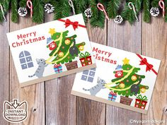 Printable Christmas Cat Message Cards Set of 8 Christmas