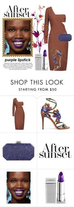 """After Sunset Purple Lipstick"" by conch-lady ❤ liked on Polyvore featuring beauty, Cushnie Et Ochs, Jimmy Choo, Edie Parker, H&M, Lipstick Queen, purplelipstick and aftersunset"