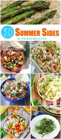 30 Summer Side Dishes perfect for weeknight dinners or big family gatherings! Side Dish Recipes, Veggie Recipes, Salad Recipes, Dinner Recipes, Cooking Recipes, Healthy Recipes, Chef Recipes, Italian Recipes, Healthy Foods